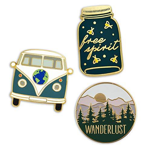 PinMart Wanderlust Free Spirit Hippie Van Outdoors Enamel Lapel Pin Set