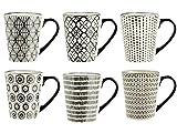 H&H Vhera Stoneware - Juego de 6 Tazas (350 ml), Color Crema y Negro