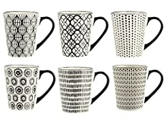 Idea Regalo - H&H Vhera Set 6 Tazze Mug, Stoneware, Crema/Nero, 350 ml