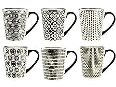 Idea Regalo - H&H Vhera Set 6 Tazze Mug, Stoneware, Crema/Nero, 350 ml