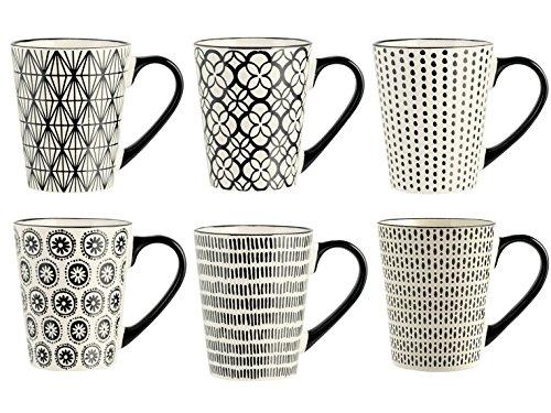 H&H Vhera Set 6 Tazze Mug, Stoneware, Bianco/Nero, 350 ml