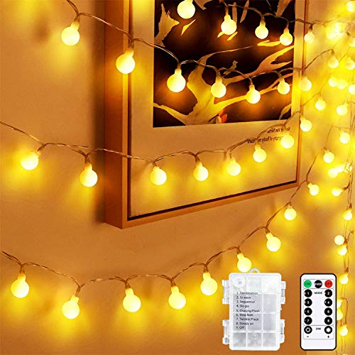 Globe Fairy Lights, 45 ft 80 LED Battery Powered Ball String Lights with 8 Modes Remote Control, Waterproof Bulb Fairy Lights for Home,Party,Wedding,Home,Christmas and Halloween.(Warm-White)…