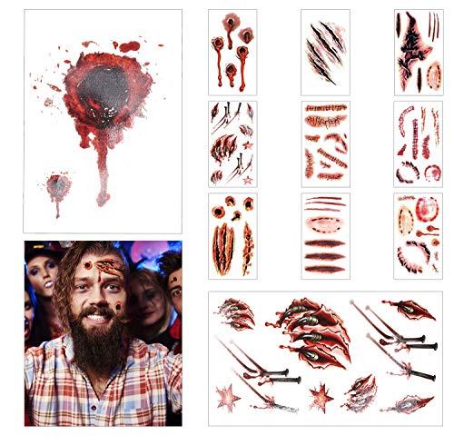 Halloween Deko, Halloween Decoration Horror, Halloween horror Temporary Tattoo stickers, Halloween Zombie Scars Tattoos Sticker,Kinder Party Gesicht Aufkleber, Halloween Blut Saugen Dekorationen