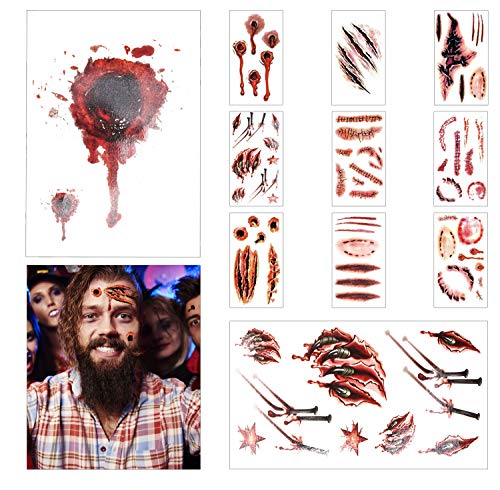 LOVEXIU Decoracion Halloween Terror ,Halloween Tatuajes Temporales, Halloween Zombie Cicatrices Tatuajes Pegatinas,Pegatinas De Tatuajes De Heridas, Decoraciones De Miedo De Halloween