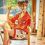 ZWLXY Impresión De Las Mujeres Pijamas De Seda De Manga Corta Simulación Suelta La Camiseta Y Pantalones Cortos De Cintura Alta,Rojo,L