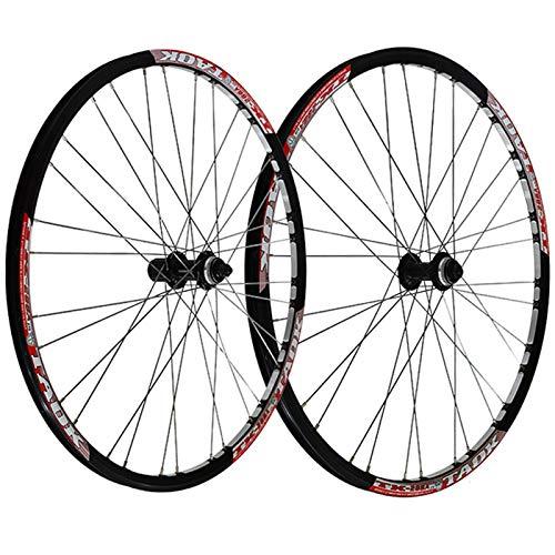 ZNND 27.5 Pulgadas Juego Ruedas Bicicleta Freno Disco Liberación Rápida Buje Bloqueo Central Delantero Trasero Llanta MTB Doble Pared para 7,8,9 Velocidades (Color : Red)