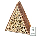Gardigo Bee House Bee Hive Wooden Home Solitary Bee Hive Hotel Bee Nester Natural Wood Bamboo Made in Germany