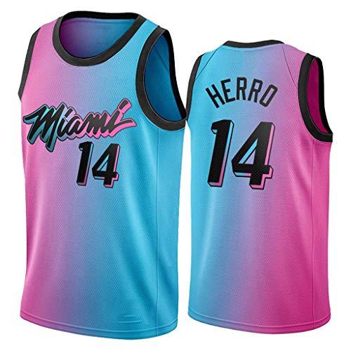 ZRHZB Miami Heat #22 Jimmy Butler #14 Taylor Hilo Camisetas de Baloncesto Jersey,Transpirable y Resistente al Desgaste Camiseta para Fan,B,XL