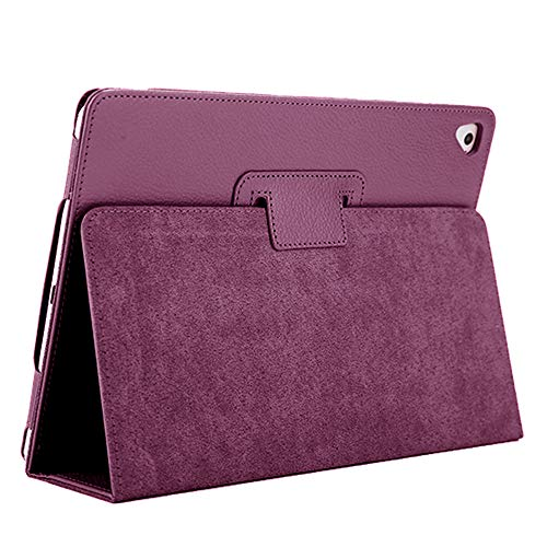 iPad Air 2/9.7 2018/2017 Case, FANSONG Bifold Series Litchi Stria Ultra Thin Magnetic PU Leather Smart Cover [Flip Stand,Sleep Function] Universal for Apple iPad Pro/Air / Air2 (9.7 inch), Purple