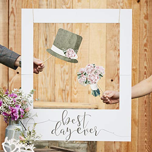 Ginger Ray Best Day Ever Giant Wedding Polaroid Photo Frame or Backdrop - Rustic