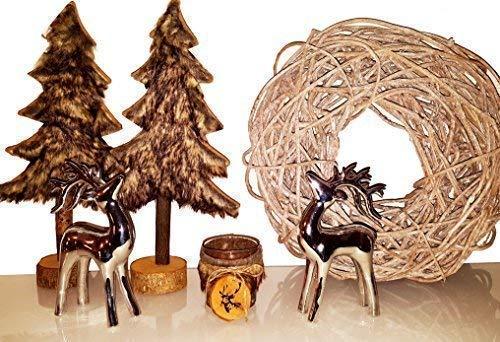 Cleanprince Arbre de Noël / Sapin 39 cm Haut Décoratif Braun avec Fausse Fourrure XXL Manteau Polyester Figurine Décorative Bois Rustique Optique Déco