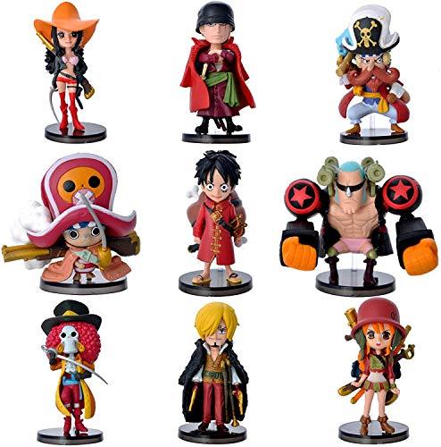 9-teiliges Figurenset aus einer Figur Luffy Sanji Roronoa Zoro Nami Robin Chopper Franky Brook Minifiguren in Form von Anime-Charakteren, Modell, Geschenke