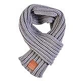 Demarkt Kinder Strickschal Winterschal Winter Warmer Stricken Schal Schlauchschal aus Wolle Grau 100-135cm
