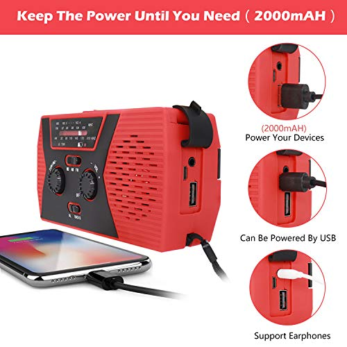 [2020 Upgraded Version] RegeMoudal Emergency Solar Hand Crank Radio, NOAA Weather Radio for Emergency with AM/FM, LED Flashlight, Reading Lamp, 2000mAh Power Bank and SOS Alarm (Black Red)