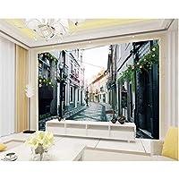 Iusasdz カスタムリビングルームの背景3D壁紙ヨーロッパ建築ノスタルジッククラシックストリートウォールペーパー家の装飾-280X200Cm