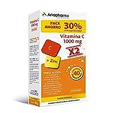Arkopharma Vitamina C 1000mg Pack 20 Comprimidos Efervescentes x2, Cansancio, Refuerzo Sistema Inmune, Vitaminas de Mayor Absorción