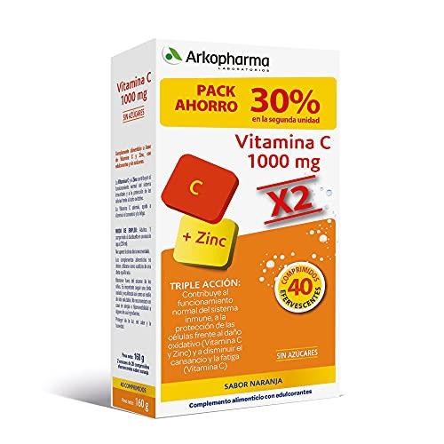 Arkopharma Vitamina C 1000mg Pack 20 Comprimidos Efervescentes X2 |cansancio | Refuerzo Sistema Inmune | Vitaminas De Mayor Absorción, 40 comprimidos efervescentes, 40 Unidad
