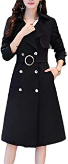 Women British Double Breasted Slim Solid Long Trench Coat Windbreaker