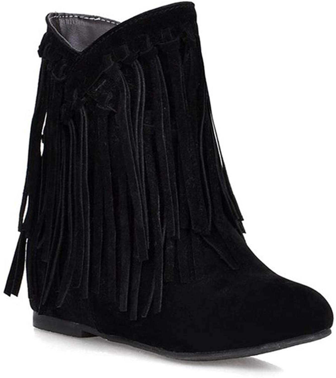 GIY Women's Winter Suede Fringed Ankle Boots Fashion Low Wedge Heel Booties Tassels Dressy Short Boots