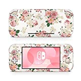 ZOOMHITSKINS Switch Lite Skin Decal Stickers, Old Vintage Flowers Pattern Europe Rose White Pastel Light Colors Gloss Classic, High Quality, Durable, Bubble-free, Goo-free, 1 Console Skin, USA Made
