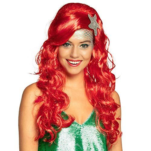 Amakando Maravillosa Peluca de Ariel con Adornos - Rojo - Cosplay Peluca de Dama Hada del mar Fiestas de Disfraces y Fiestas temáticas