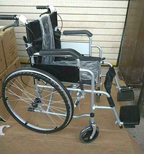 Yabe Trading Lightweight Folding Self Propelled Wheelchair with Hand Brakes and Foot Rest - Grey Frame