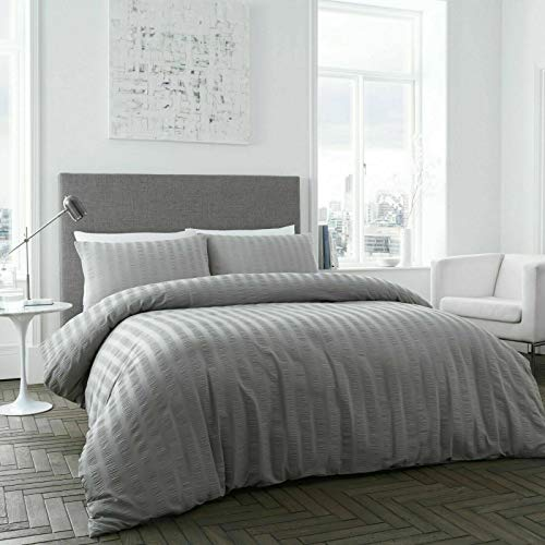 EHD New Saro Seersucker Style Luxurious Duvet Cover Sets Quilt Cover Sets Bedding Sets (Grey, Double Size)