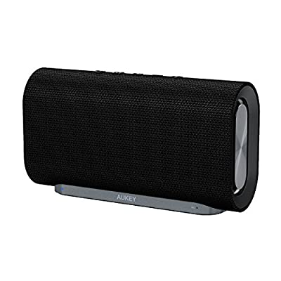 AUKEY Eclipse Bluetooth Speaker 20 W with 12 Hours Playtime, Enhanced Bass with Dual Passive Radiators / Subwoofers and Woven Fabric Surface for Echo Dot, Android Phones and More (Upgraded) by AUKEY