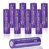 18650 3.7v 2500mah Botón de la Batería Superior 18650 Batería Recargable 3.7 Ion de Litio Pila Recargable 18650 Alto Rendimiento 1500 Ciclos de Carga para Linterna 18650,18x65mm (10 Pcs)