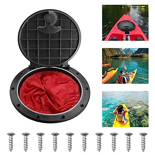 EMAGEREN Piastra da Kayak da 8 Pollici Coperchio del boccaporto per Kayak Coperchio del Portellone del Kayak Estraibile con Borsa Rossa Accessori per Canoa Kayak