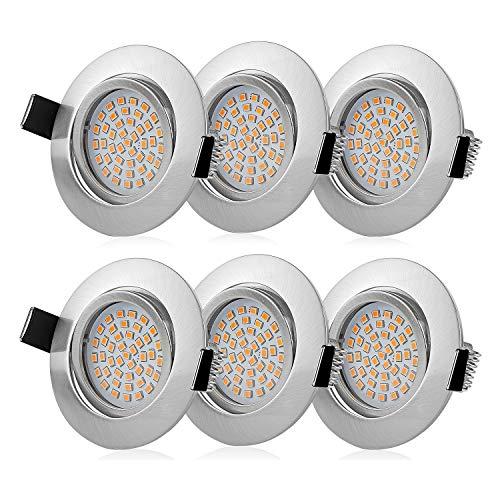 Wilktop Ultraflach Einbaustrahler Dimmbar Schwenkbar Ultra Flach 6er Set 5W LED Modul 230 Volt Warmweiß Einbauleuchten für Bad, Küche, Wohnzimmer