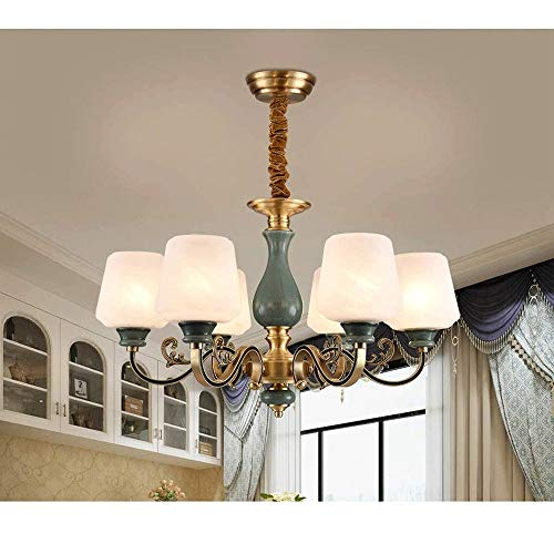 Post Chandelier - Copper Ceramic Chandelier Country Retro Ceiling Lamp Restaurant Foyer Hanging,Ceiling Lighting, Size:71x42cm steampunk buy now online