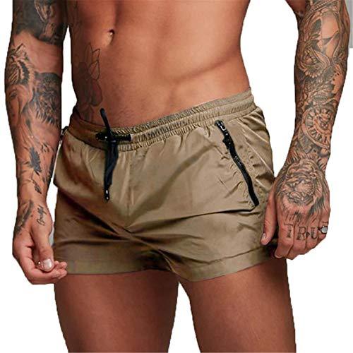 Costume da Bagno Uomo, Calzoncini da Bagno per Uomo Pantaloncini Elastico Boxer da Nuoto con Taschino e Coulisse (EU XL/Tag XXL, Cachi)
