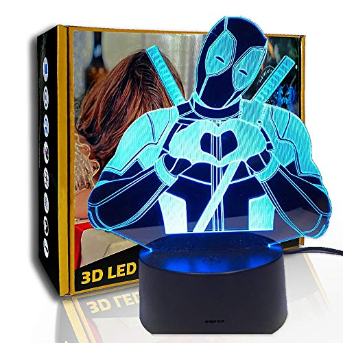 JINYI LED Luz nocturna Ninja Heart, lámpara de ilusión óptica 3D, regalo de niño, E- Base para despertador (7 colores), 7 cambio de color, Regalo para amigo