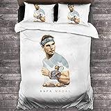 Rafael Nadal Parure de lit 3 pièces de qualité européenne avec housse de couette imprimée 3D 177 x 218 cm New