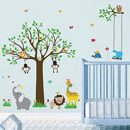 decalmile Pegatinas de Pared Animales Jungla Árbol Vinilos Decorativos Búhos Monos Elefante Adhesivos Pared Habitación Infantiles Niños Bebés Guardería (H:81cm)