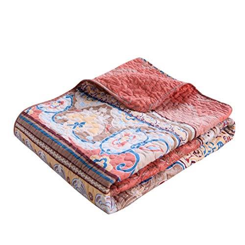 Exclusivo Mezcla Luxury Reversible 100% Cotton Rustic Boho Stripe Quilted Throw Blanket 60