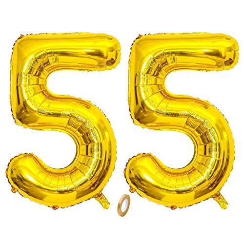 Jrzyhi Globos con números para 55 cumpleaños globos dorados gigantes número 55...