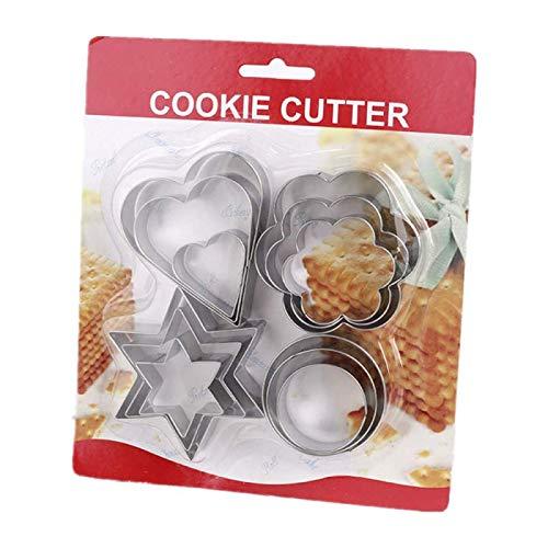 Bricolage, Presse À Biscuits En Forme De Coeur En Acier Inoxydable, Fleurs Rondes Et Étoiles, Moule À Biscuits 12 Pièces