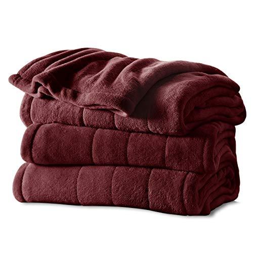 Sunbeam Microplush Heated Blanket with ComfortTech Controller, Full, Garnet