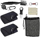 Pro-ALIGN Kit d'outils et accessoires de golf avec sac - 2 chiffons avec mousqueton - Brosse de nettoyage en microfibre pour rainures de club de golf - Outil de réparation de divot de golf