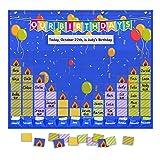 preschool birthday chart - Eamay Happy Birthday Pocket Chart, Blue Birthday Graph Bulletin Board for Classroom