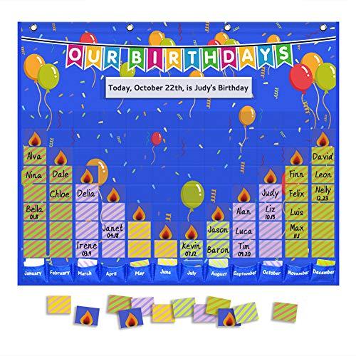 Eamay Happy Birthday Pocket Chart, Blue Birthday Graph Bulletin Board for Classroom