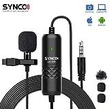 SYNCO Lav-S6E Lavalier-Microfono-Solapa-Corbata-Condensador Omnidireccional 6M, Clip Microphone Compatible para DSLR Cámaras Reflex, Móviles, Computador Portátil, PC