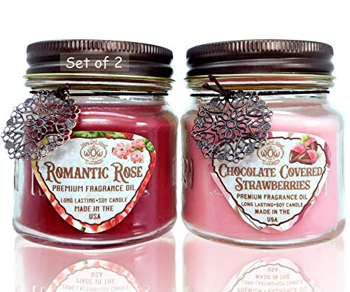Way Out West Candles Romantic Gift Pack- Jar Candles Scented Set of 2 - Soy Wax Blend- Fragrant, Chocolate Covered Strawberries & Romantic Rose - Best Romantic Gift Idea- Made in USA