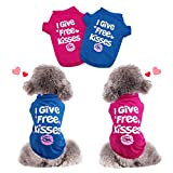 HYLYUN Valentines Day Dog Shirt 2 Packs - Valentines Pet Shirt Soft Breathable Puppy Shirts Printed Pet Clothing for Small Dogs and Cats XS