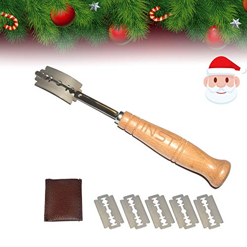 INST Bakers Bread Lame Bread Tool for Scoring Sourdough Bread Easily with 5 Sharp Blades 1 Ergonomic Wooden Handle 1 Leather Protective Cover - Bread Baking Tool Set for Homemade Bread, Cake, Pizza