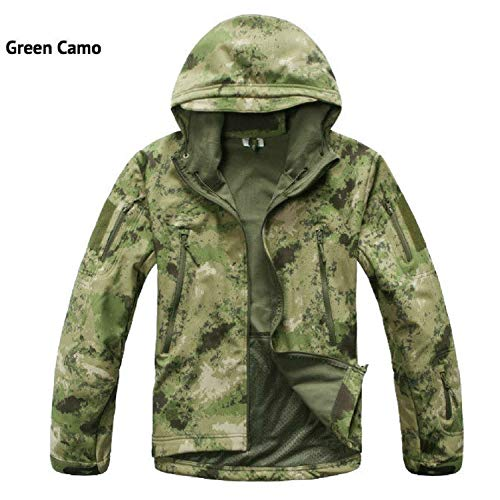 Lurker Shark Skin Softshell V5 Military Tactical Jacket Men Waterproof Coat Army Camo Clothing,Green Camo,XXXL