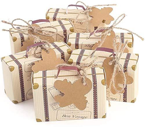 mciskin Set de 60 Cajas para dulces bombones Caja kraft de boda regalo Rústico,novio y de la novia Candy Caja Papel Boda Regalos Cajas de caramelo de Fiesta envoltorio,Mini maleta boda Favor caja
