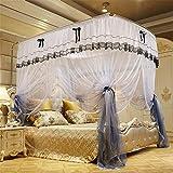 Cama con dosel, 4 esquinas, cortina de la cama para adultos, mosquitera con barra telescópica curva - 3 mosquiteras abiertas - linda decoración de dormitorio estilo princesa,C,180x200x210cmKing